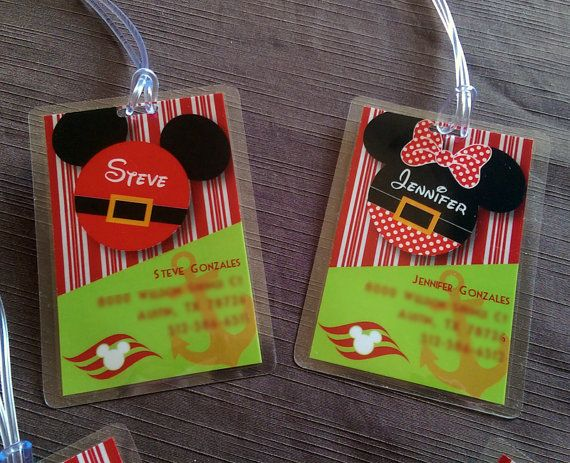 Be unique for your Disney Merrytime Christmas Cruise with this family set of Nautical Christmas Luggage Tags for Disney Cruise Vacation featuring Santa Mickey Mouse Head, Mrs. Clause Minnie Mouse Head and Elfs themed with anchors and DCL logo.  SIZE: 2.5w x 4.25h  WHATS INCLUDED? ONE personalized tag style of your choice. (FRONT ONLY PERSONALIZED) - There is no image or personalizing on back. PERSONALIZING In Note to Seller please tell me: 1. Name for mickey head 2. Address/Contact Info…