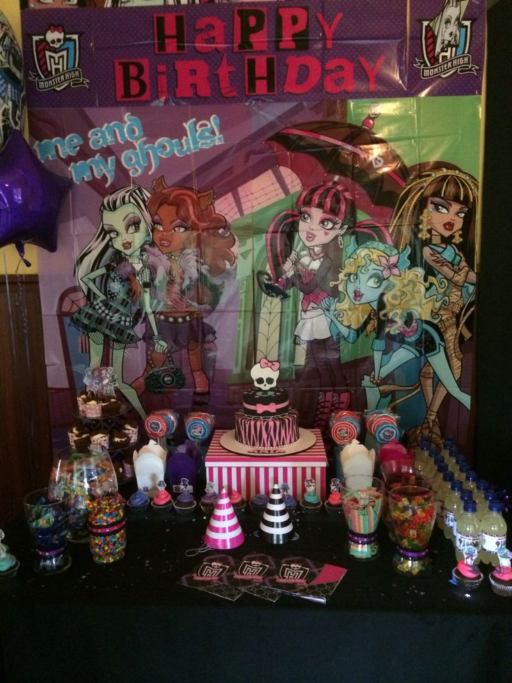 Amia's 6th birthday, monster high party lolly buffet cake table