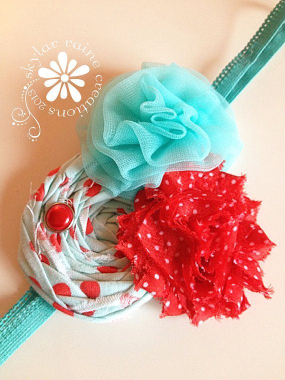 HOLIDAY Headband   Aqua & Red Headband  Christmas by skylarraine, $12.50
