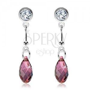 925 ezüst fülbevaló, lila csiszolt csepp, pálca, átlátszó Swarovski kristály