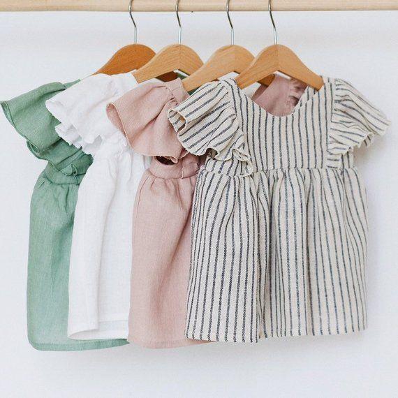 Stripes Linen Ruffle Baby / Toddler / Girl's Blouse #Blouse # toddler #le …  – Salia ➰ Adam