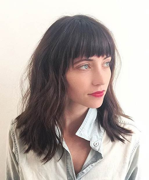 Layered Lob with Bangs for Brunettes