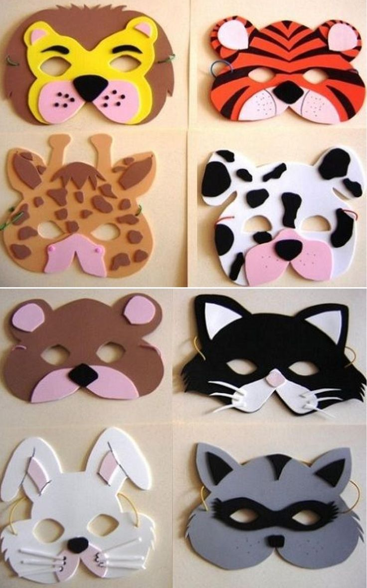 Máscaras de animales de #foami para #Carnaval o actividades escolares. #fomi…