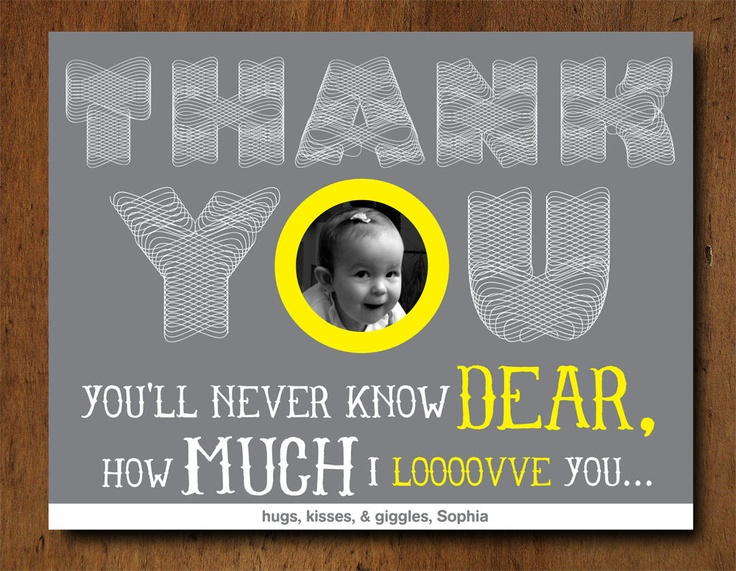 Custom Photo You Are My Sunshine Birthday Party Thank You Cards. $14.50, via Etsy. thank you card idea