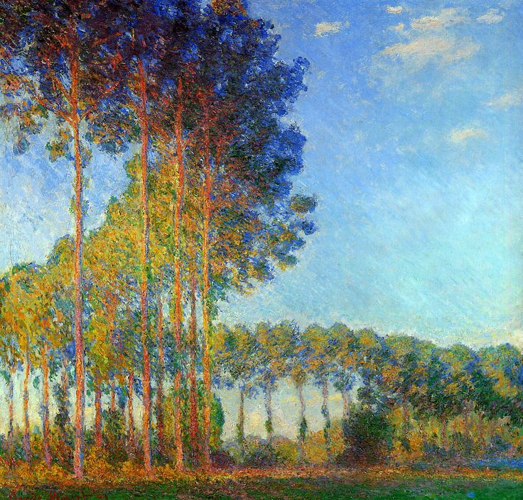 Poplars on the Banks of the River Epte, Seen from the Marsh,