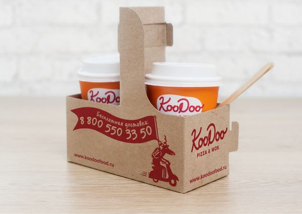 Koodoo Pizza and Wok restaurant takeout package design / www.gritsandgrids.com
