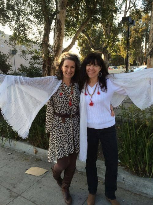 Two long time friends - Coach and blogger Roberta Raye and Acupuncturist Bethany Muhl - soaring underneath a tree in Los Angeles wearing their Gratitude Prayer Scarf and sacred Mala Prayer Beads. What are friends for - but to soar together?  www.thespiritedwoman.com/prayer_scarf