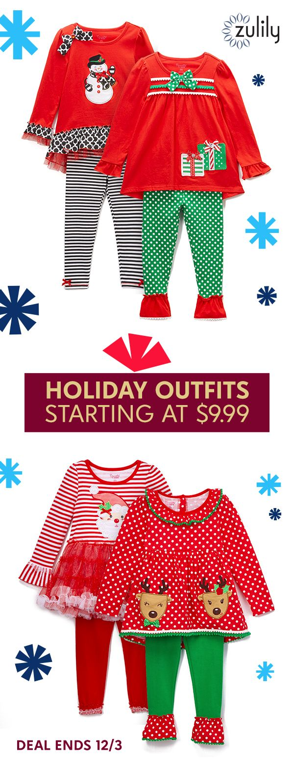 Sign up to shop baby, toddler and kids Christmas and holiday clothes, starting at $9.99. Cheerful prints and hues team up with kid-friendly fabrics in this lineup of sets and dresses for sweethearts. You'll find pieces perfect for holidays and everyday occasions alike. Deal ends 12/3.
