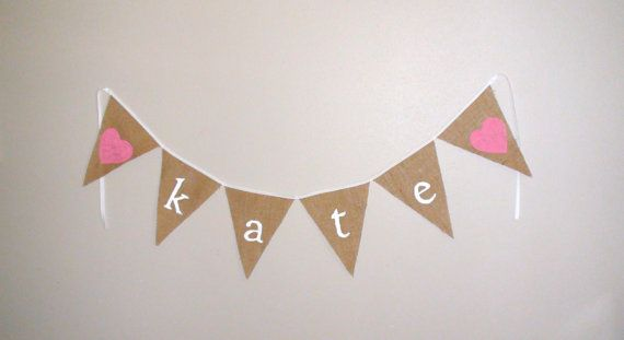 Custom NAME Light Brown Burlap Pennant Banner. Photo Prop. Birthday Banner. Christenings. Welcome Home Baby.