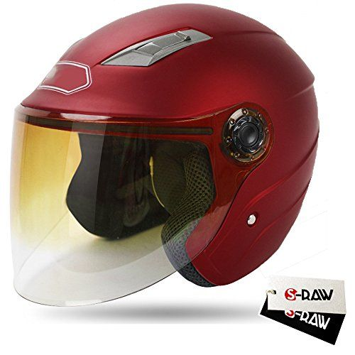 Special Offers - S-Raw DOT Motorcycle Helmet 3/4 Open Face Helmet with Shield Visor Scooter Helmet Matte Dark Red Large - In stock & Free Shipping. You can save more money! Check It (September 28 2016 at 12:00AM) >> http://motorcyclejacketusa.net/s-raw-dot-motorcycle-helmet-34-open-face-helmet-with-shield-visor-scooter-helmet-matte-dark-red-large/