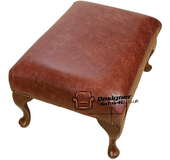 Chesterfield 1930's Queen Anne Footstool UK Maufactured Old English Chestnut, Leather Sofas, Traditional Sofas