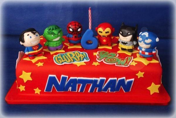Super Cute Chibi Superhero Cake