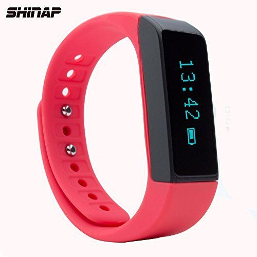 Short but helpful! 2016 New Released Fitness Tracker Watch by SHINAP® Landscape/Portrait Orientation display, Activity Tracking with Pedometer, Calorie Counter, Message Alarm, Sleeping Monitor-Improve Fitness Now (Red)