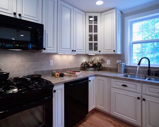 White Kitchen With Black Appliances Design, Pictures