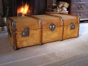Lovely Old Antique Vintage Waxed Pine Steamer Trunk Coffee Table Travel Chest