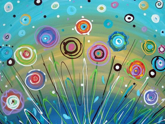 "Abstract Flower Painting Circles Aqua Teal Yellow Bright Colors Contemporary 16"" x 20"" Canvas"