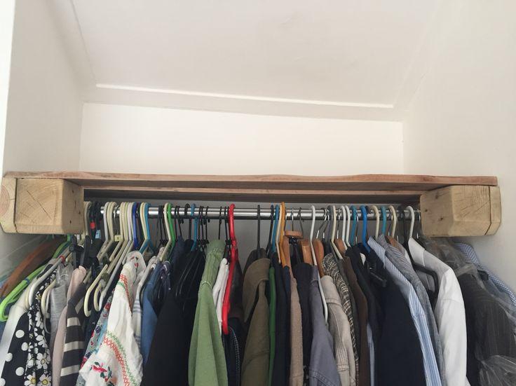 Pallet clothes rail and shelf