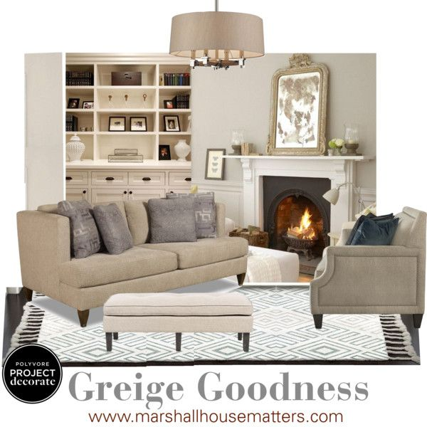 Cozy Greige Living Room With Built In Shelves And Gilded