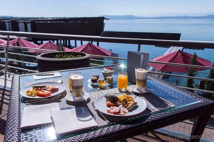 Breakfast at the Palafitte Hotel on Lake Neuchatel, Switzerland