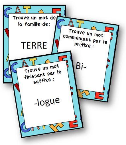 Trouve-mots / jeu sur les familles de mots, préfixes et suffixes - La classe de Mallory