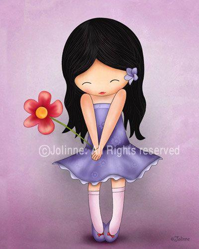 Children's Wall Art Print , Girl holding a flower , Illustration for girl's room decor