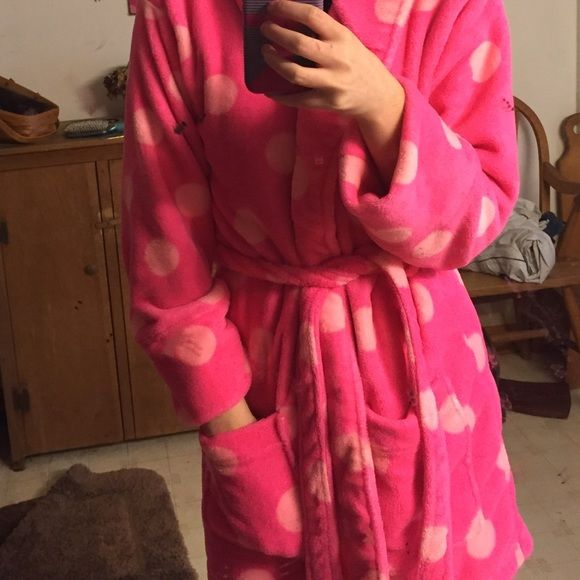 "Victoria's Secret PINK bathrobe Plush, pink polka dot bathrobe! Only worn once briefly. Revived it as a gift and as much as I love it, I never use it. The back has sequins of ""pink"" and it comes with a matching waist tie. Very soft and cozy! ☺️ PINK Victoria's Secret Intimates & Sleepwear Robes"