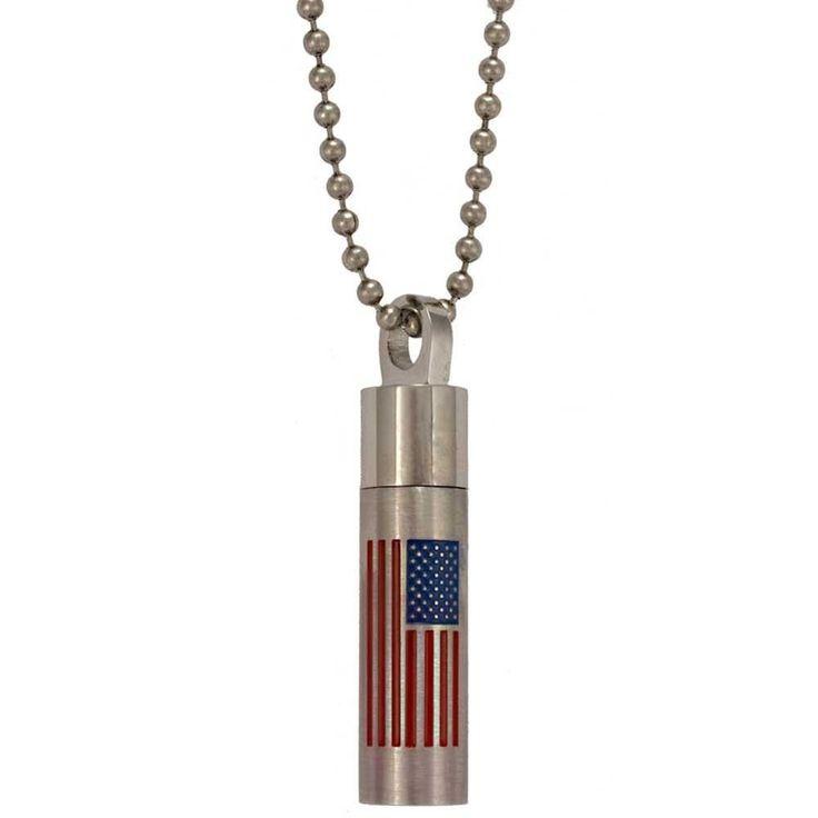 Memorial Ashes Americian Flag Vial Pendant Necklace