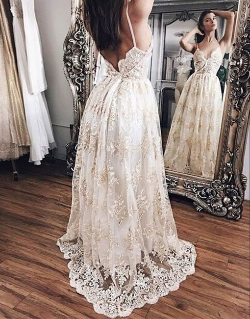 New Arrival A-Line Spaghetti Straps Champagne Lace Long Prom Dress