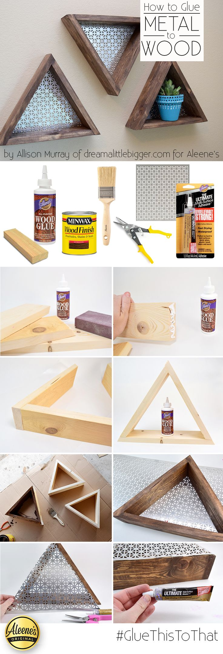 Make this cool DIY triangle shelves with @allisongm of the Dream a Little Bigger blog using Aleene's Wood Glue and Aleene's the Ultimate Adhesive!