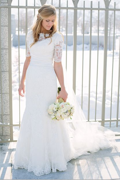 Stunning Lace Sleeves and Illusion Neckline - Modest Wedding Gown #themodestbride http://www.pinterest.com/modestbride/boards/