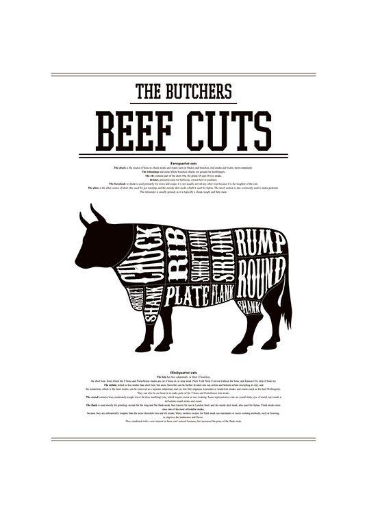 Tyylikäs, mustavalkoinen taulu lehmän osilla keittiöön.