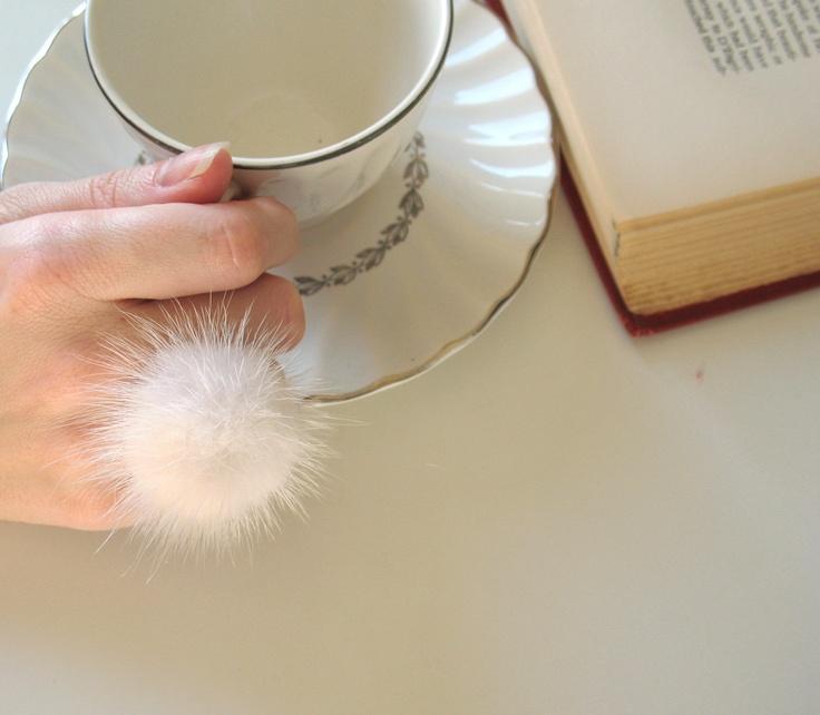 White Mink Fur Pom Ring