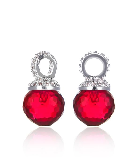 EARRING CHARM KAGI CHERRY DROPS MEDIUM FACETED RED GLASS AND CLEAR CUBIC ZIRCONIA CRYSTALS HAND-SET ONTO RHODIUM PLATED BASE METAL 1.1CM - Jons Family Jewellers