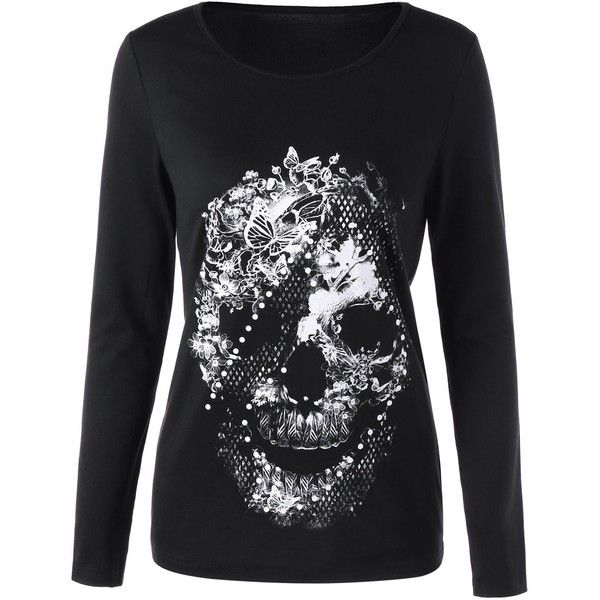 Black 2xl Butterfly Skull Long Sleeve Top ($8.62) ❤ liked on Polyvore featuring tops, t-shirts, longsleeve t shirts, butterfly tops, skull graphic t shirts, skull t shirt and butterfly print top