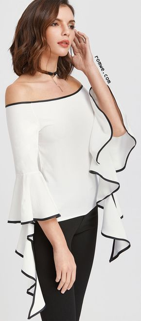 White Contrast Trim Off The Shoulder Flared Sleeve Top