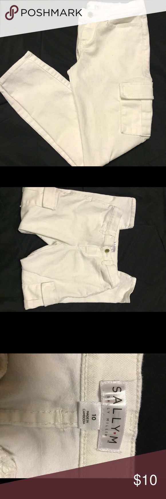 Girls white pants Great condition girls size 10! Cute pocket and great for summer nights or those cozy fall days! Please make an offer! Sally Miller Bottoms Casual