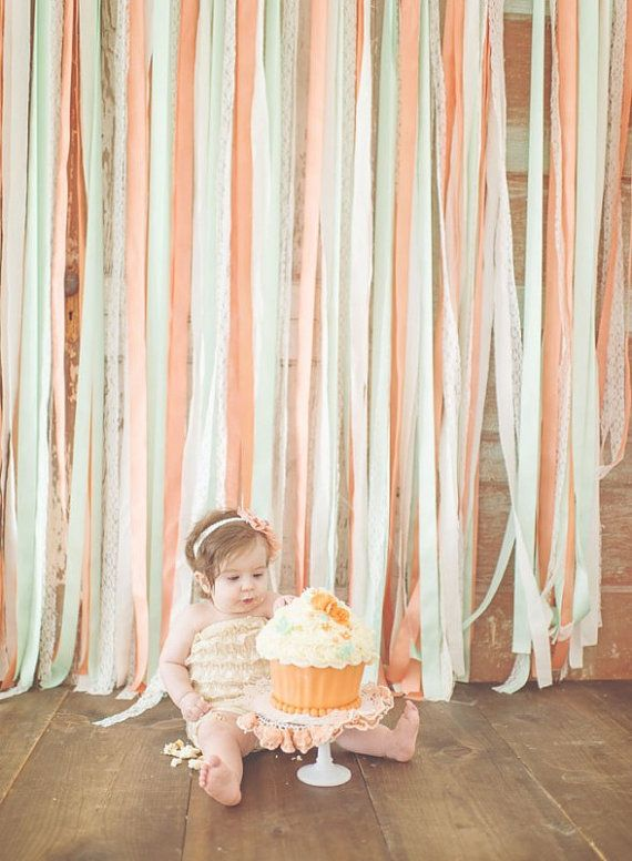 Peaches & Mint backdrop   ‪#‎shabbychic‬  ‪#‎newborn‬ ‪#mint #peach‬ ‪#‎backdrop‬ ‪#‎fabricbackdrop‬ ‪#‎newbornphotographer‬ ‪#‎babyphotographer‬ ‪#‎childphotographer‬ ‪#‎photoprop‬ ‪#‎photoprops #cakesmash #firstbirthday #1stbirthday #ribbonbackdrop