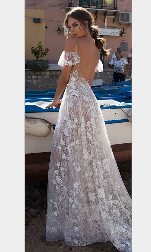 Women Beach Elegant Maxi Sheath Dress With Applique Solid Colored Lace Backless Deep V White Dresses
