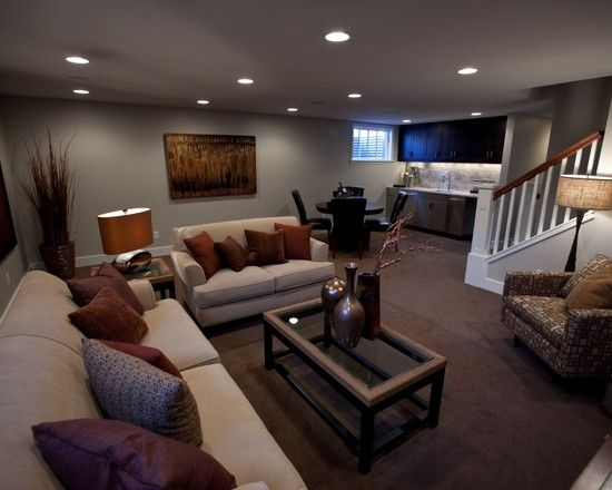 Wall color worldly grey by sherwin williams for the home for Basement living room design ideas