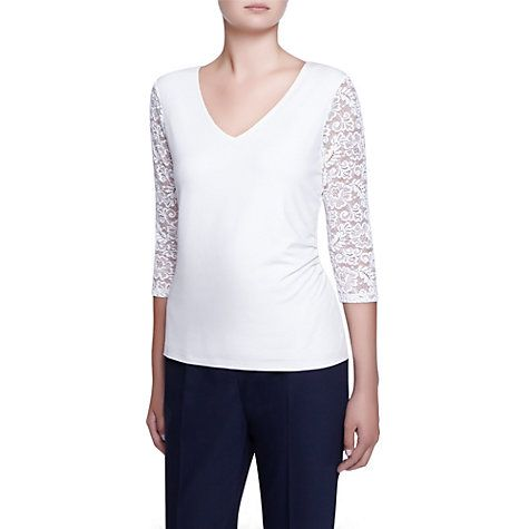 Buy Kaliko Lace Jersey Sleeve Top, Ivory Online at johnlewis.com