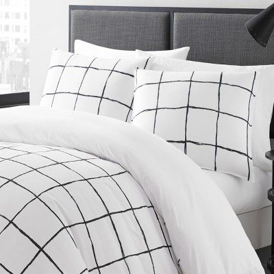 Twin White Zander Duvet Cover Set City Scene Products