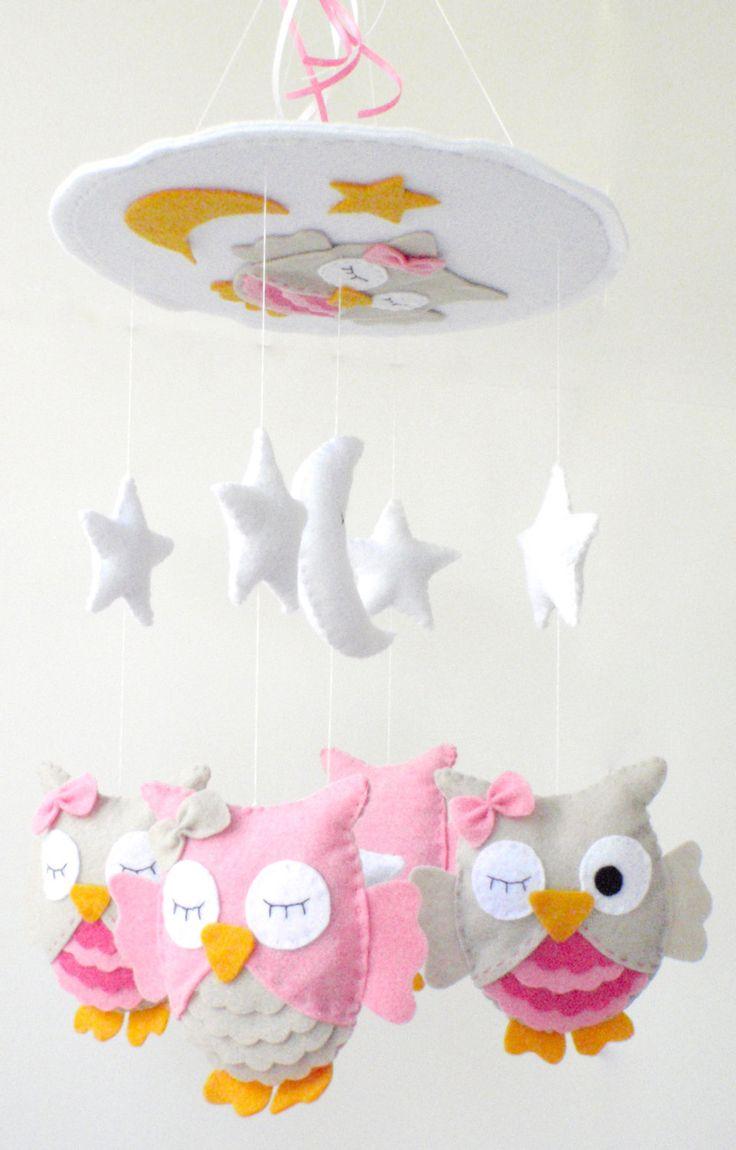 "Baby Crib Mobile - Baby Mobile - Nursery Crib Mobile - Pink and Beige Owl Mobile ""Sleeping Owls"". $90.00, via Etsy."