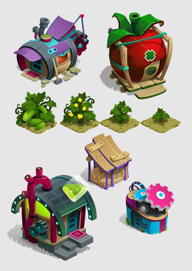 строения, домики, игры on Behance