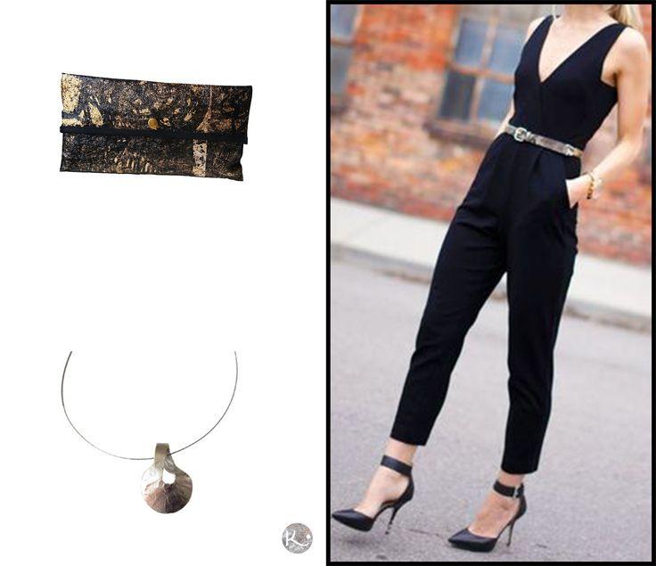 Clutch  dorado.  Collar Cuenco Inverido, colección Metal http://www.kairaweb.com.ar/joyas-de-autor-metal/collares1/