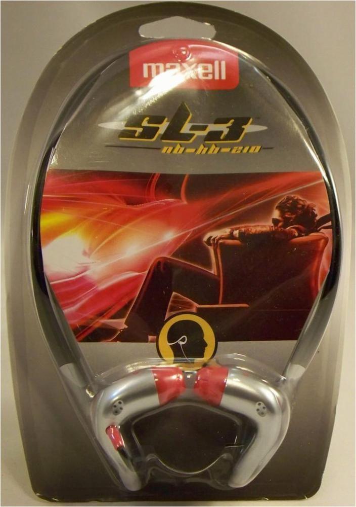 Maxell Silver Black Red Neckband Stereo Headphones 20-22K Hz from US Seller #Maxell #DigitalStereoHeadphones