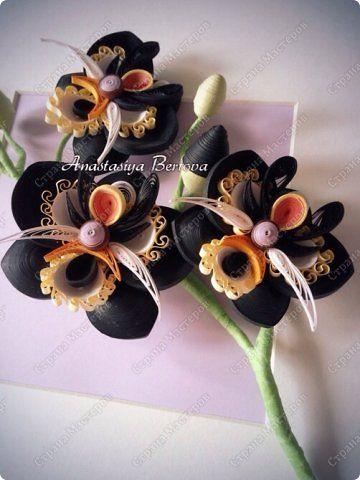 Картина панно рисунок Квиллинг Чёрная орхидея Бумажные полосы Проволока фото 5