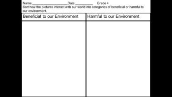 Students sort pictures into table of beneficial or harmful to our environment.