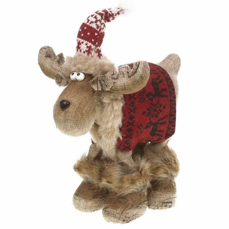 Reindeer Moose Standing Christmas Decoration With Red Coat