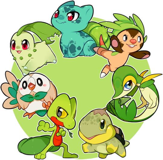 All of the grass starter types  together (with a little more sparkle), because why not?