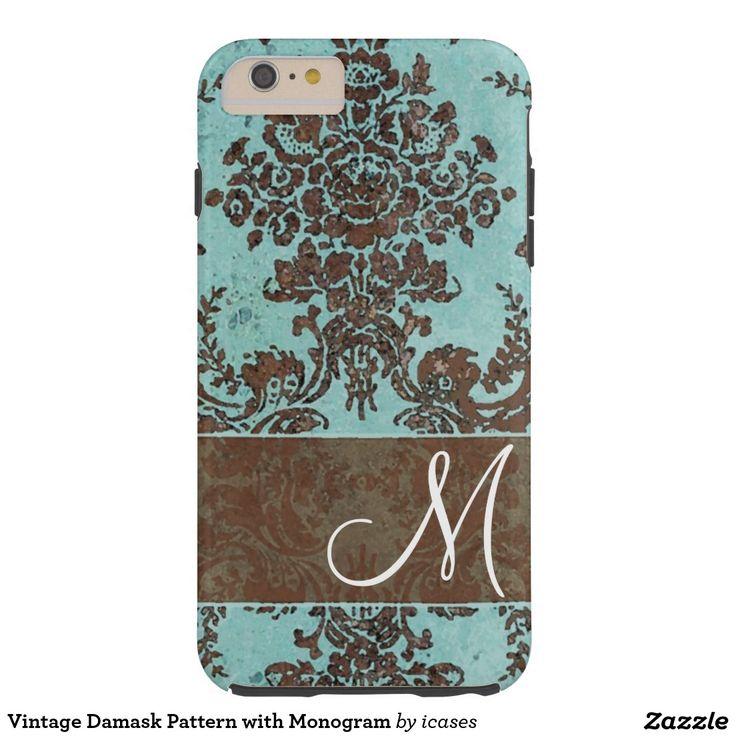 Vintage Damask Pattern with Monogram Tough iPhone 6 Plus Case